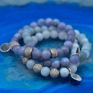🆕 OOAK Natural Angelite & Pave Stackable Bracelet